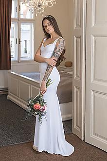 Šaty - Biele svadobné šaty s vlečkou - 13483169_