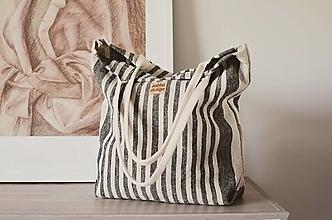 Veľké tašky - Lina (ľanová taška) čierna - 13484725_