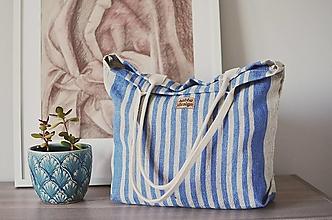 Veľké tašky - Lina (ľanová taška) modrá - 13486819_