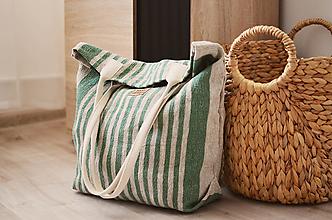 Veľké tašky - Lina (ľanová taška) zelená - 13486840_