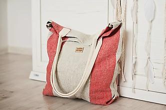 Veľké tašky - Lina (ľanová taška) červená - 13486843_