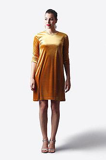 Šaty - Šaty zamatové voľné zlaté - 13485230_