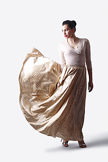 Sukne - Sukňa saténová dlhá béžová s bielym vzorom - 13486781_