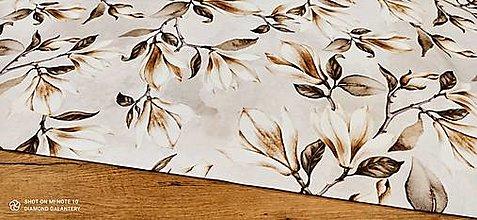 Textil - Bavlna režná - Kvety- Cena za 10 centimetrov - 13484765_