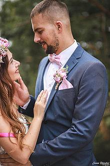 Ozdoby do vlasov - Romantický  svadobný set  (Motýlik a vreckovka) - 13487554_