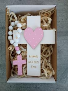 Dekorácie - Darček pre novorodenca ku krstu Set krížik a ruženec - 13487126_