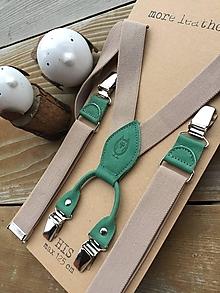 Doplnky - Pánske béžové traky so smaragdovozelenou kožou - 13484714_