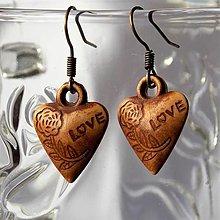 Náušnice - Drevené náušničky Love - 13485460_