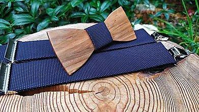 Doplnky - Pánsky drevený motýlik a traky - 13486038_