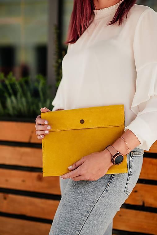 Obaly na tablet - Univerzálne puzdro na tablet a klávesnicu z brúsenej kože žlté - 13485622_