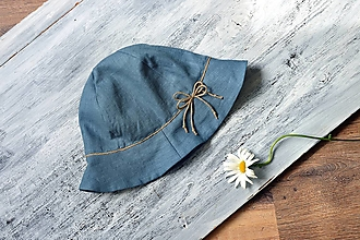 Čiapky - Ľanový klobúk širák petrolejová - 13484682_