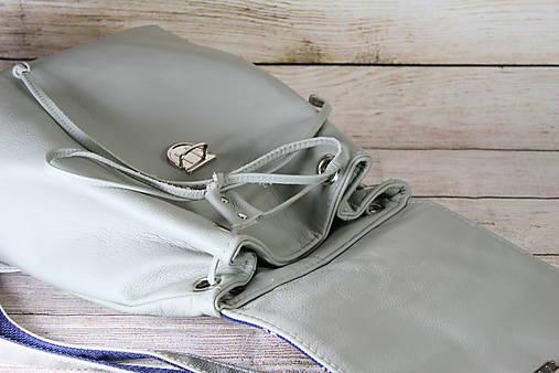 Kožený modrotlačový batoh Matej šedý AM