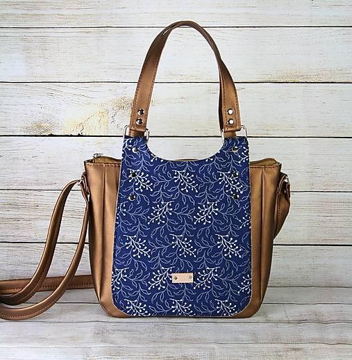 Modrotlačová kabelka Diana hnedá metalická