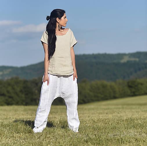 Nohavice - Lněné turky bílé - 13486987_