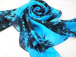Šatky - Batikovaný hedvábný šátek tyrkysovo-černý 12565232 - 13484546_