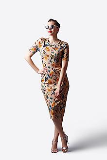 Šaty - Šaty Midi béžové so vzorom - 13488252_