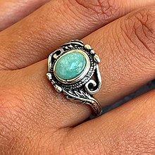 Prstene - Floral Amazonite Ring / Elegantný vintage prsteň s amazonitom - 13488806_