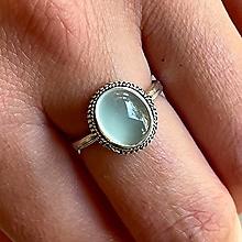 Prstene - Antique Silver Chalcedony Ring / Vintage prsteň s aqua chalcedónom #2009 - 13488846_