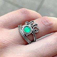 Prstene - Antique Silver Green Agate Ring / Vintage prsteň so zeleným achátom - 13490473_