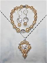 Sady šperkov - Riečne perly, strieborný hematit- Vanilková - 13489571_