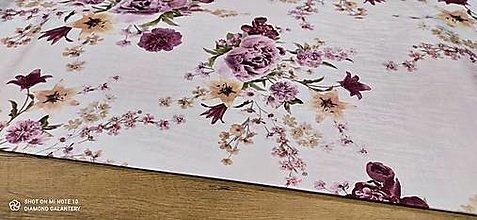 Textil - Bavlna režná - Pivónie na lúke - cena za 10 centimetrov - 13487758_