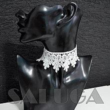 Náhrdelníky - CHOKER náhrdelník - biely - čipkovaný - folk - 13490203_