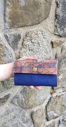 Peňaženky - Dámska korková peňaženka blue - 13490603_