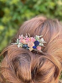 """Ozdoby do vlasov - Kvetinový hrebienok """"hlboko v duši"""" - 13489849_"""