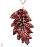Náhrdelníky - medený dubový list s etiópskym opálom - 13490627_