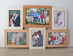 Rámiky - Drevený fotorámik na viac fotografií, drevený darček, drevená dekorácia, závesný fotorámik z dreva - 13489475_