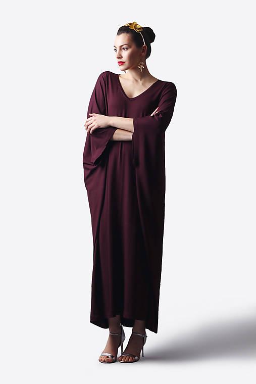 Šaty - Šaty burgundy voľné dlhé - 13491083_