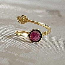 Prstene - Simple Leaf Silver Gold plated Garnet Ring Ag925 / Strieborný pozlátený prsteň s granátom rodolitom - 13492106_