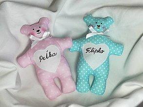 Darčeky pre svadobčanov - Medvedík pre najmenších,svadobčanov,tyrkysový,ružový - 13491463_