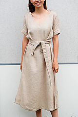 - Ľanové šaty 2v1_piesková - 13492065_