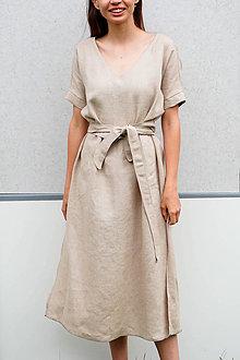 Šaty - Ľanové šaty 2v1_piesková - 13492065_