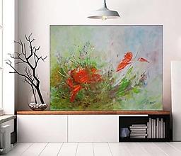 Obrazy - Kvet a motýľ 80x60 - 13492288_