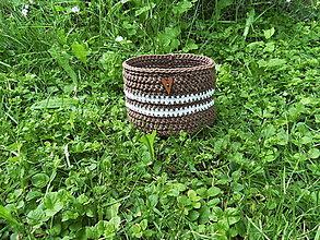 Košíky - Háčkovaný košík hnedý do kúpeľne, na drobnosti - 13491529_