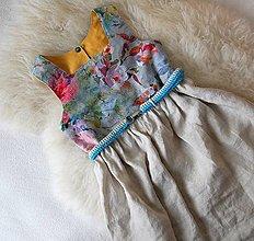 Detské oblečenie - Obojstranné ľanové šaty (Ruža/mango) - 13491414_