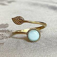 Prstene - Simple Leaf Silver Gold plated Larimar Ring Ag925 / Strieborný pozlátený prsteň s larimarom - 13493699_