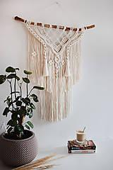 """Dekorácie - makramé """"prebúdzanie"""" (natural biela) - 13494404_"""