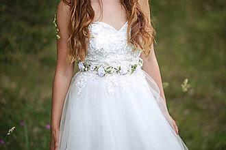 Ozdoby do vlasov - Romantický jemný opasok - biely - 13493113_