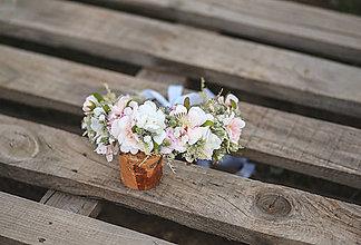 Ozdoby do vlasov - Veľký ružovo-biely svadobný venček - 13493138_