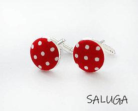 Šperky - Manžetové gombíky - červené - bodkované - 13494058_