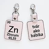 Kľúčenky - Kľúčenka prvok Zn-tvár ako bábika - 13494017_