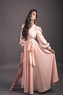 Šaty - Dlhé šaty na zvinovací štýl v páse na gumičku rôzne farby - 13493309_