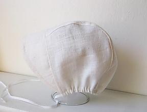 Detské čiapky - ľanový čepček/6/12 mesiacov biely - 13494357_