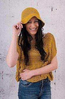 Topy - SET- Romantický pletený top a klobúk - 13495590_