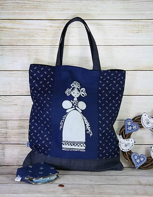 Modrotlačová nákupná taška Milka 1
