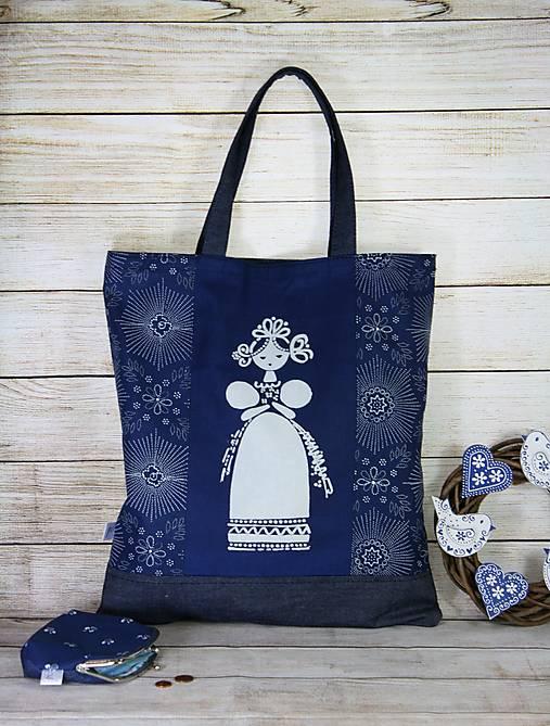 Modrotlačová nákupná taška Milka 2