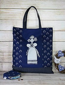 Nákupné tašky - Modrotlačová nákupná taška Milka 3 - 13496943_